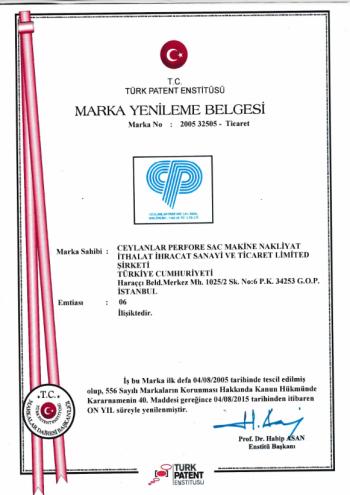 Certificato di Rinnovo del Marchio
